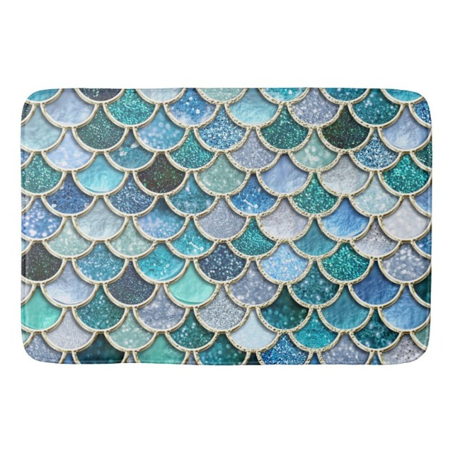 Glitter Mermaid Scales Bathroom Carpet Fish Doormat Luxury