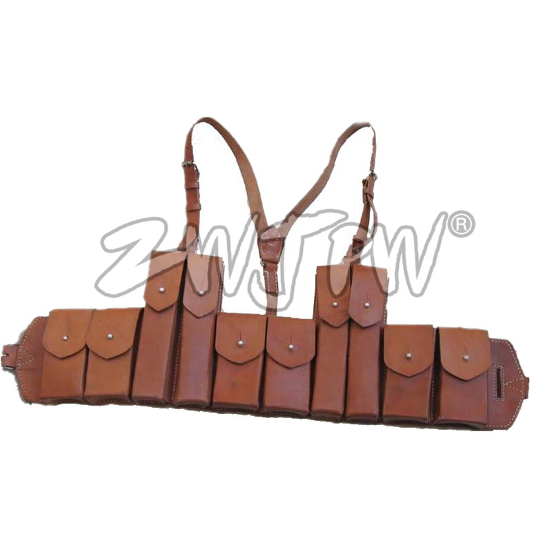 где купить WW2 China Army Submachine Gun 10 Clip Magazine Pouch  Leather Hunting Folder Pouch Ammo Bag Package CN/104125 дешево