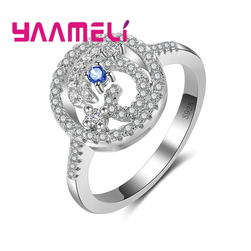YAAMELI Women Ladies Clear Crystal Cubic Zirconia Finger Rings High Quality Original Real 925 Sterling Silver Jewelry Present