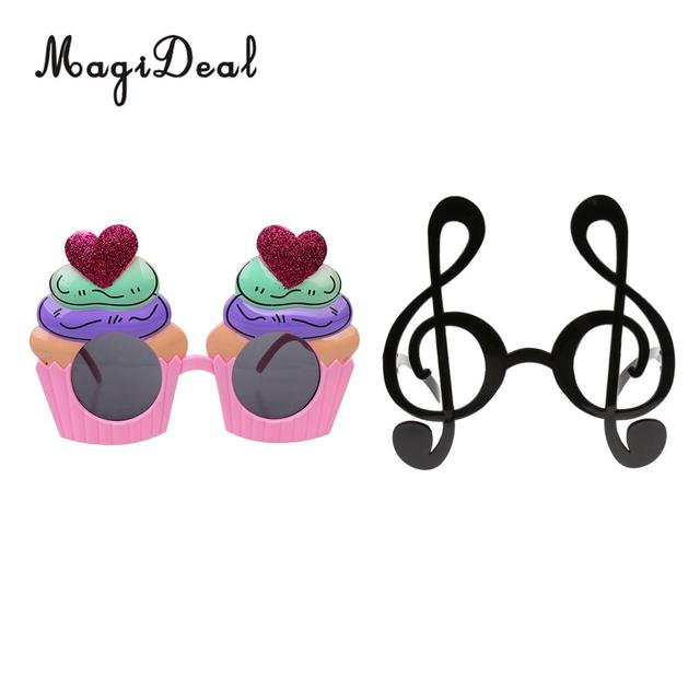 Set Of 2 Pieces Heart Cupcake Birthday Sunglasses Music Symbol Glasses Hen Party Glasses Fancy Dress Holiday Photo Props In Party Favors From Home