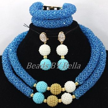 2017 Fashion Blue Braid Crystal Beads Nigerian Beaded Necklaces Sets Wedding Necklace Bridal Jewelry Sets Free Shipping ABK161