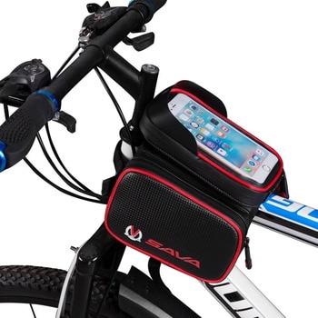 65b07d47738 Bolso de bicicleta frontal impermeable bolsa de bicicleta bolsa de marco  para bicicleta Teléfono de ciclismo bicicleta teléfono marco bolsas marco  frontal ...