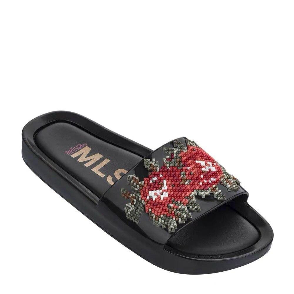 Melissa Sapatos de Alta qualidade Da Moda casa Mulheres Chinelos anti-slip Lâminas de Praia Sapatas Das Mulheres chanclas de mujer verão chinelo