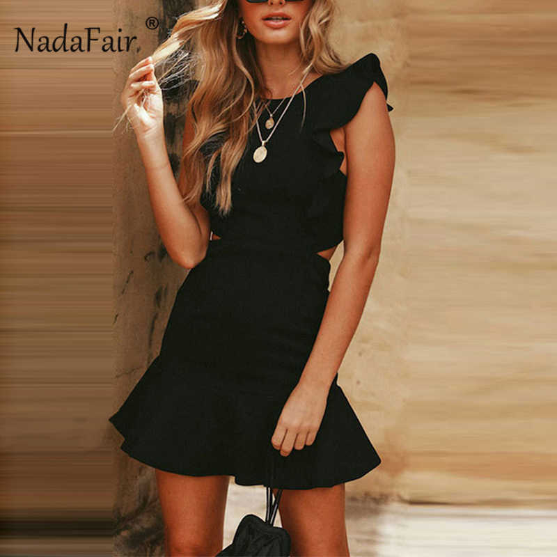 6c875e60be8 Nadafair летнее облегающее платье с открытой спиной винтажное желтое Черное  мини-платье с рукавом-