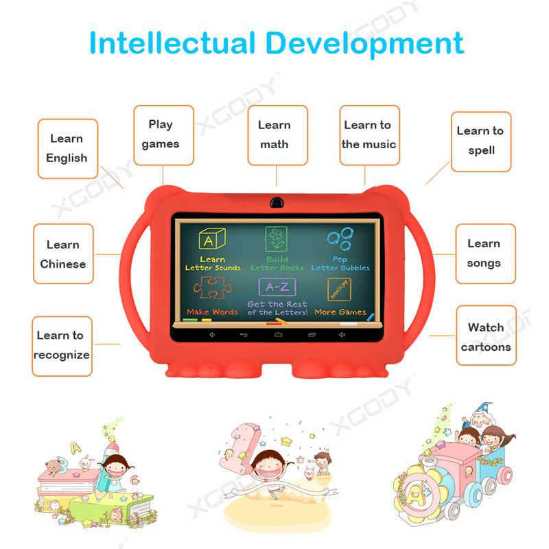 """7 Inch Kids Tablet PC Android 8.1 1GB 16GB Quad Core Children Learning Education Machine Toys Laptop 7"""" Tablet with Stand Case"""