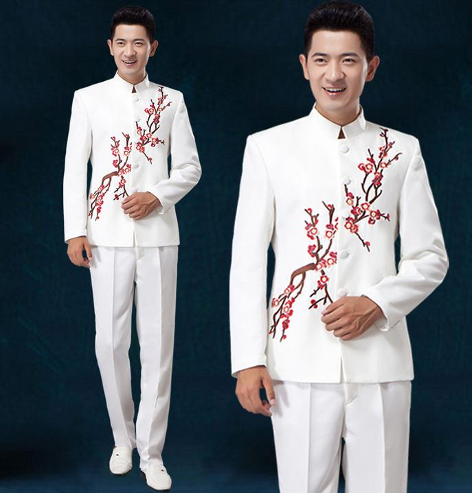 White Red Blue 2019 New Arrival Costume Slim Men Chinese Tunic Suit Set With Pants Mens Suits Wedding Groom Dress Suit + Pant
