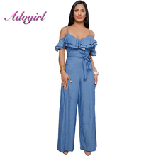 Adogirl Summer Jumpsuits Women Sexy Ruffles Denim Jumpsuit Women Spaghetti Strap Slash Neck Bandage Overalls