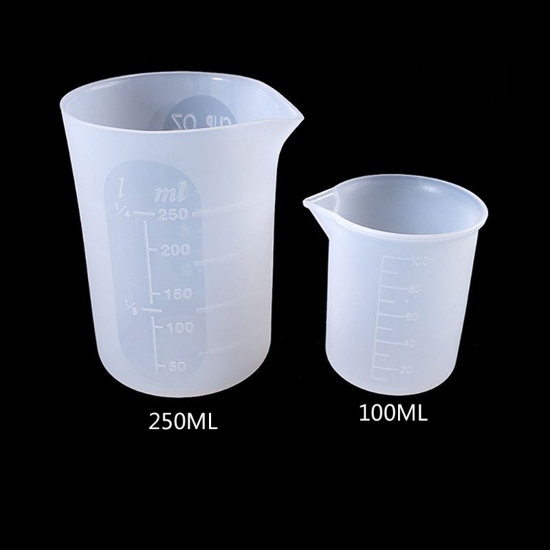2Pcs 100ML 250ML Flexible Silicone Measuring Cup Cook Bakers Resin Jewelry Tools