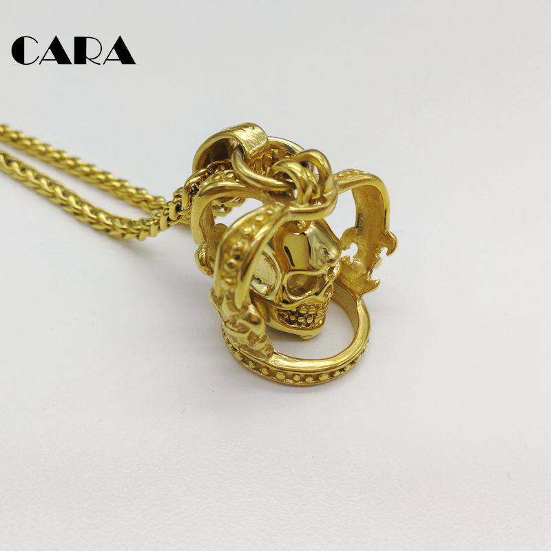 CARA New Gold color 3D skull in Crown pendant necklace 316L stainless steel  skull crown snake ccdb1e5cab1c