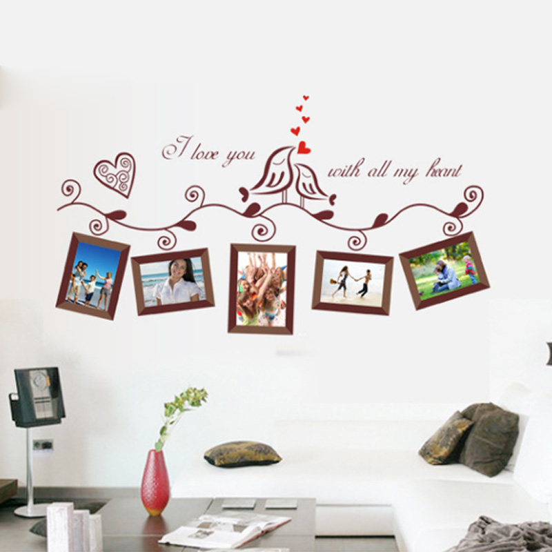 US $1.98 20% di SCONTO|Love Birds Photo Frame Wall Stickers per soggiorno  camera da letto Amore Bacio Uccelli Famiglia Stickers murali Della Parete  ...