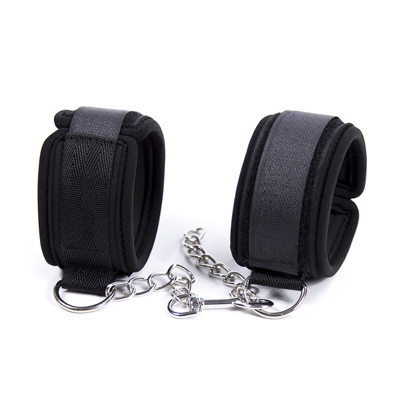 Sexy Adjustable Nylon Sponge Metal Chain Handcuff Ankle Cuffs Bondage Restraints Sex Toy For Adult Exotic Accessories