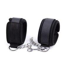 Sexy Adjustable Nylon Sponge Metal Chain Handcuff Ankle Cuffs Bondage Restraints