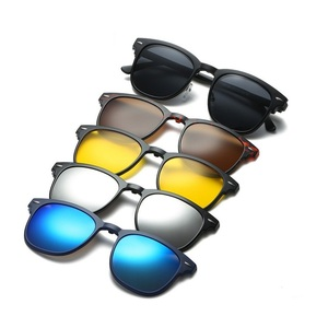 Image 5 - 새로운 브랜드 5 + 1 레트로 편광 된 근시 클립 선글라스 안경 프레임 남성 여성 5 자석 세트 미러 안경 프레임 남성