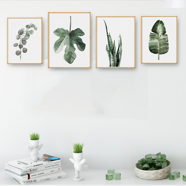 Watercolor Tropical Leaf Plant Art Canvas Poster Modern Minimalist Living Room Decor Painting Background No Frame