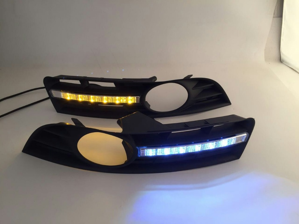 ФОТО SMK led daytime running light DRL for volkswagen passat B6 2006-2011 with yellow turn light function, wireless switch control