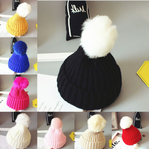 a48eb3de2 US $2.45 14% OFF|Cute Winter Kids Baby Girls Boys Infant Hairball Warm Hats  Cap Knitted Stretch Wool Toddler Hemming Crochet Ski Cap Beanies Hat-in ...