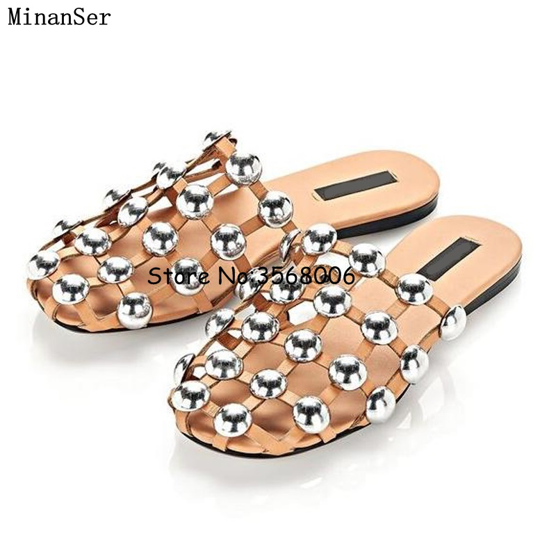 0ebab5662 Cheap Fashion Amelia Leather Beach Sandals Mules Slip On Rivet  Pearl  Crystal  Studded Slippers Women Flat Slides Caged Shoes 44-in Slippers from Shoes on  ...