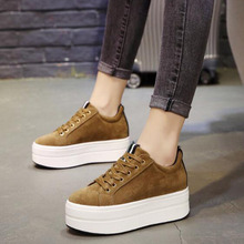 AGUTZM Women Vulcanized Shoes Casual Wedge Platform lace-up Spring Autumn Increasing Ladies Sneakers Female High Heels Z62