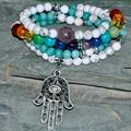 SN0288 Protection 108 Mala Beads Bracelet Yoga Necklace Japa Hamsa Natural Stone Jewelry Chakra Wrap Jewelry Wholesale