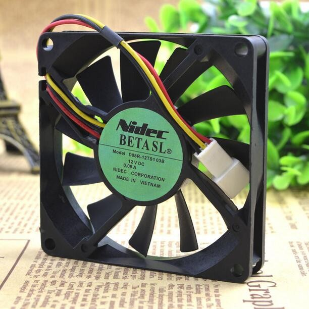 Wholesale: NIDEC D08R-12TS103B 80*80*15 12V 0.09A 8CM 3 wire ultra quiet cooling fan