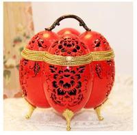 The European royal handmade jewelry box Chinese red egg carving art creative gift jewelry box wife girlfriend
