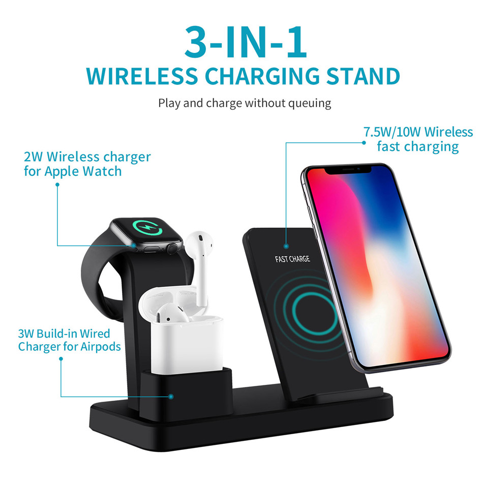 For apple watch charger 3 In 1 Charging Dock Station Bracket Cradle Stand phone holder  For IPhone XR X 8 7 6 Wireless QI Dock   (3)