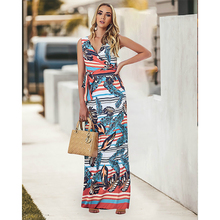 S-XXL Plus Size Tank Print Floral Dress Women Corset Sleeveless Long with Sashes Maxi Summer Clothes for