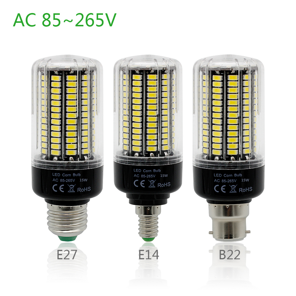 CE&RoHs 5736 SMD More Bright 5730 5733 LED Corn Lamp 3W 5W 7W 9W 12W 15W E27 E14 B22 Bulb Light 85V-265V No Flicker