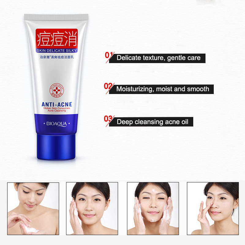 Acne Treatment Facial Cleanser Black Head Remove Oil-control Deep Cleansing Shrink Pores Foam @ME88