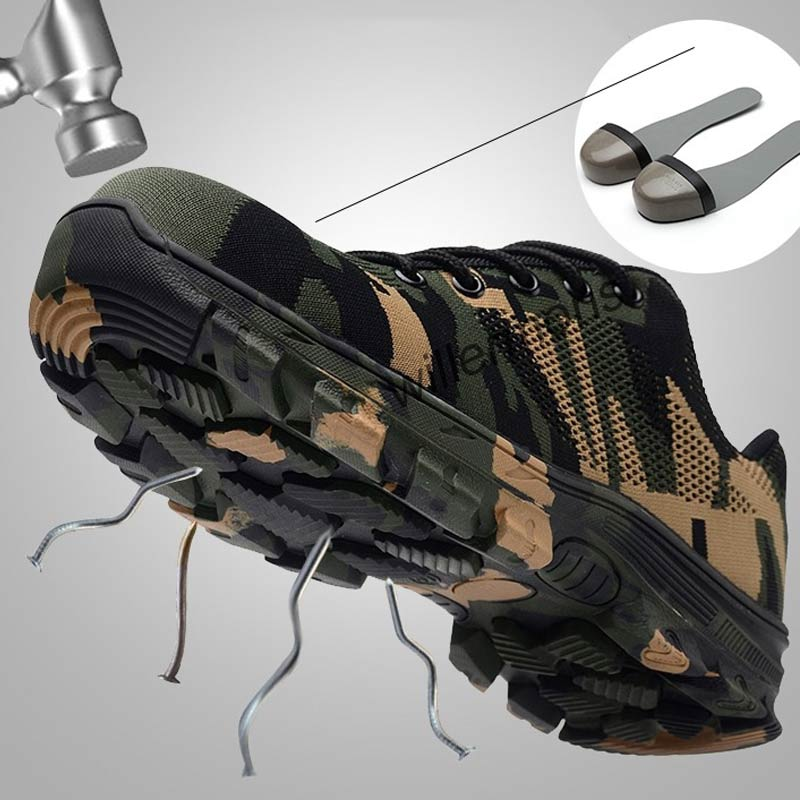 Work Boots Construction Men's Outdoor Steel Toe Cap Shoes Men Camouflage Puncture Proof High Quality Safety Shoes Plus Size