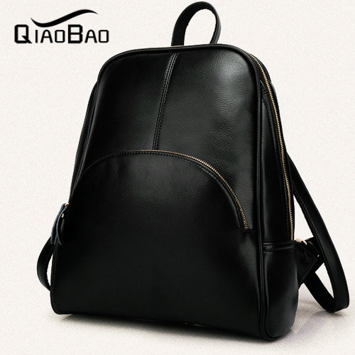 QIAOBAO New Arrival Women s Backpack Vintage Leather Backpack Motorcycle Backpack Femininas Women Leather bag Tote