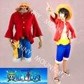 Envío gratuito de Una Pieza Del Mono D Luffy (hace dos años) traje Japonés de cosplay del anime de Halloween vestido (sombrero \ zapatillas)