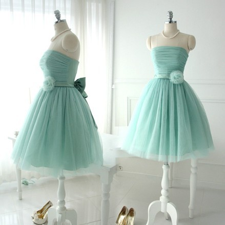 Free Shipping Mint Brides Maid Dresses Short Strapless Lace Up Bridesmaid  Dress Princess Style Wedding Party Wear XS-XXXL SD262 4fe834a5bd1a