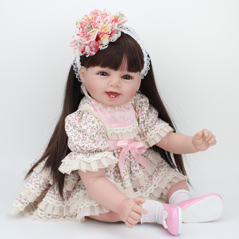 Collectible Dolls Real Baby Silicone Reborn Doll 22 Inch Long Hair Wigs Handmade Girls Dress for Real Life Dolls Kids Gifts