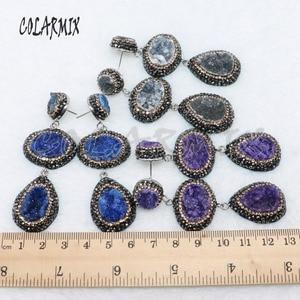 Image 4 - 5 Đôi Đôi Druzy Bông Tai Pha Trộn Màu Sắc Đá Druzy Bông Tai Tặng Sỉ Trang Sức 4887