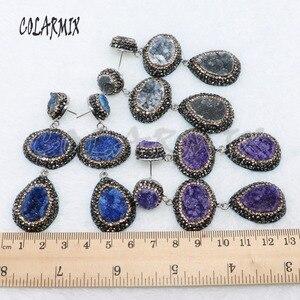 Image 4 - Pendientes de piedra drusa dobles, 5 pares, mezcla de colores, joyería con drusa, regalo, joyería 4887