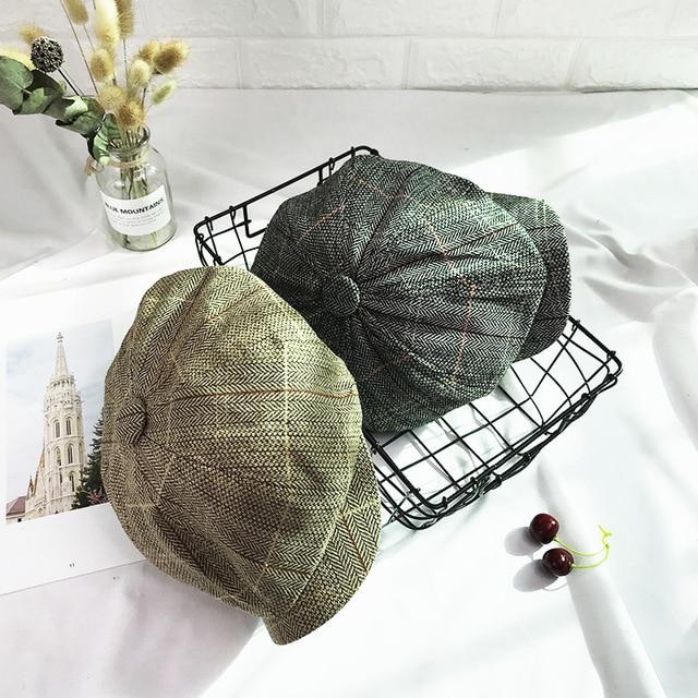 b3d9c5198c39a Flat Cap Wool Vintage Cabbie Hat Ivy Cap Irish Casual Hunting Ear Flap  Newsboy Cap