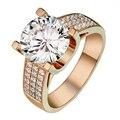 Único 5CT Quilate Real Moissanite Anillo de Diamantes Redondos Para Las Mujeres Laboratorio Crecido Diamond 14 k 585 Oro Amarillo Anillo De Bodas joyería