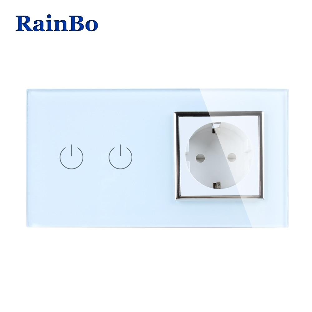 RainBo Brand Luxury  Touch Screen Control Tempered crystal Glass Panel Wall Light  Touch Switch Socket Wall Socket  A29218EW/B аксессуар для игровой консоли rainbo накладки на стики для геймпада зенит