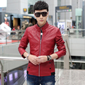 Stand collar leather jacket PU thin autumn leather jacket slim male leather clothing PU slanting stripe leather coat male