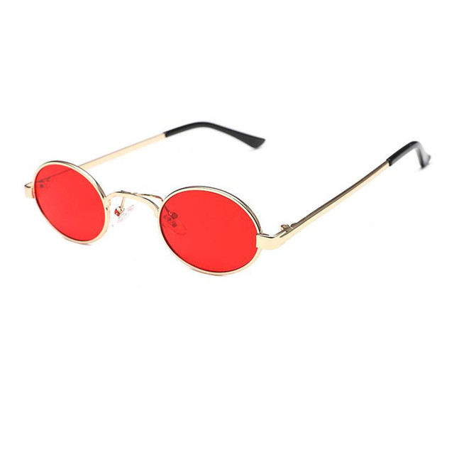7ae61b929dd24 43mm Vintage Small Oval Round Gold Red HD Sunglasses Men Women Unisex Metal  Sun Glasses Myopia Rx able