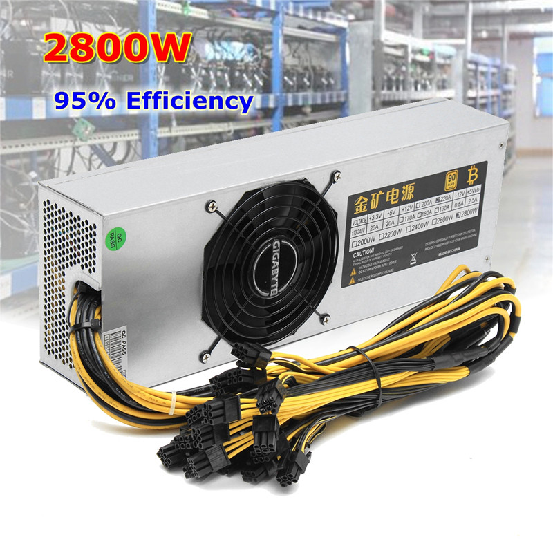 2800W Mining Miner Power Supply 95 90 PLUS 12V 220A 6pin 24 For BTC Bitcoin Miner