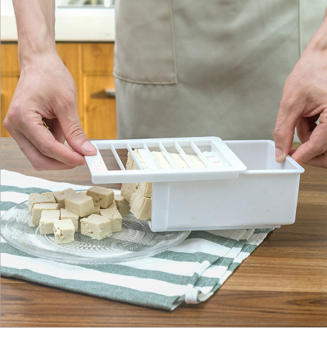 Homemade Tofu Press Mold Maker DIY <font><b>Plastic</b></font> Tofu Making Machine with Cotton <font><b>Cheese</b></font> Cloth Bakeware <font><b>Moulds</b></font> Kitchen Utensil Set image