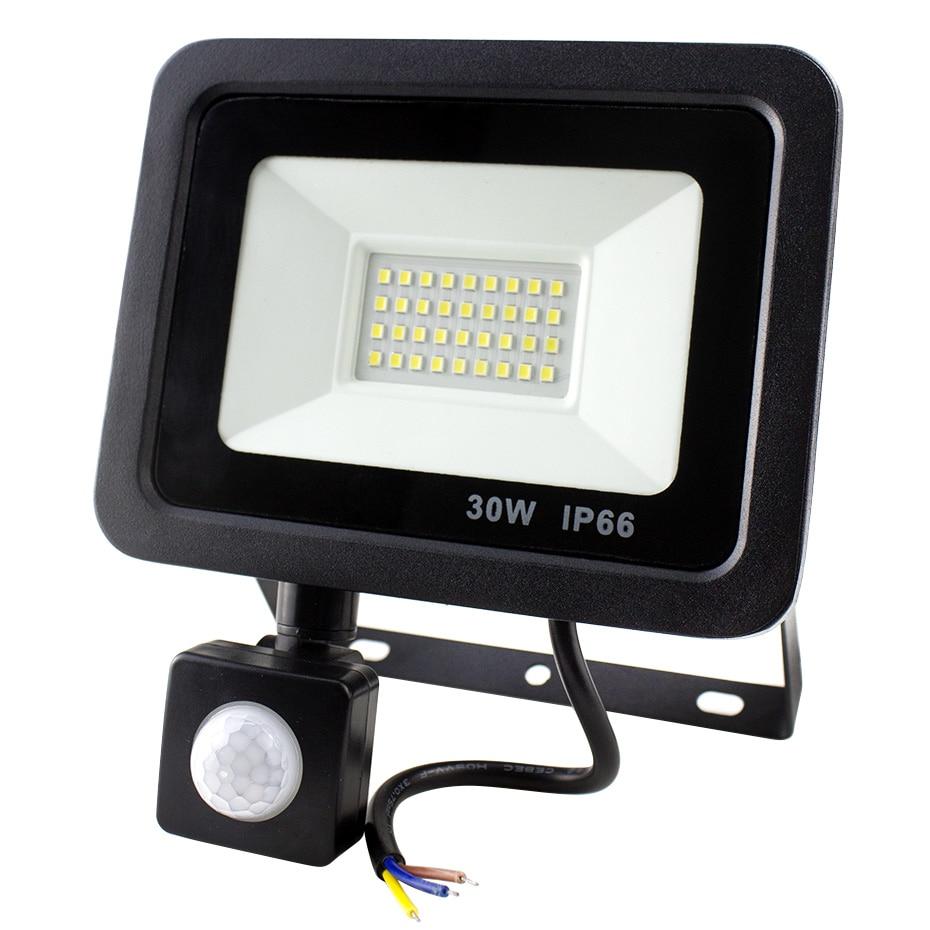 LED Motion Sensor Light 50W Outdoor Flood Light 5000 Lumens 6000K LED Security Light 220V IP66 Waterproof For Overhead Lighting
