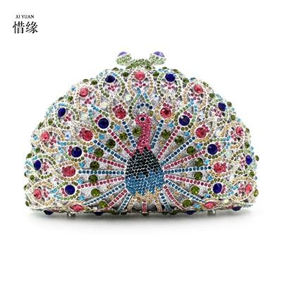 все цены на XIYUAN Luxury Peacock Crystal Evening Bag Diamond Women Clutch Bag Chain Handbags for Wedding, Banquet ,Dinner Coloful Cell bags онлайн
