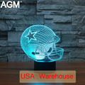 NFL Football Forma NightLight lámpara de Mesa Táctil 7 Colores Cambiantes Dallas Cowboy Leones Dormir Lampara Luz USB de Acrílico 3D LED