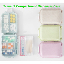 UK 7 Compartment Dispenser Case Pill Box Medicine Tablet Holder Non-toxic Portable Organizer Travel