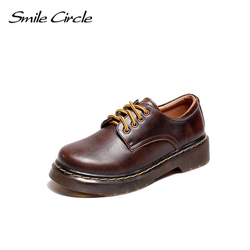 Smile Circle Oxford Flats Shoes Women Genuine Leather Shoes Autumn Retro platform Martin shoes Comfortable casual shoes Wome retro circle