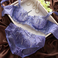 Роскошный Японский Мода Тонкий Бюстгальтер Сексуальный Прозрачного Кружева Push Up Цветочной Вышивкой Бюстгальтер для Женщин Нижнее Белье Набор
