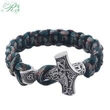 RJ Handmade Norse Viking Bracelets Thor Mjolnir Hammer Paracord Armband Amulet R